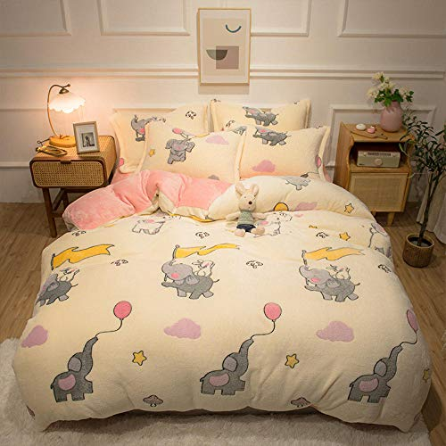geek cook Bedding Set,Winter coral velvet bed four-piece milk velvet flannel duvet cover sheet student dormitory plus velvet bedding kit-paradise_Quilt cover 200 * 230