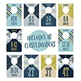 """Baby Boy Closet Clothing Dividers/Closet Organizer for Baby Clothes Newborn to 4T / 4"""" x 6"""" Boy Nursery Size Dividers"""