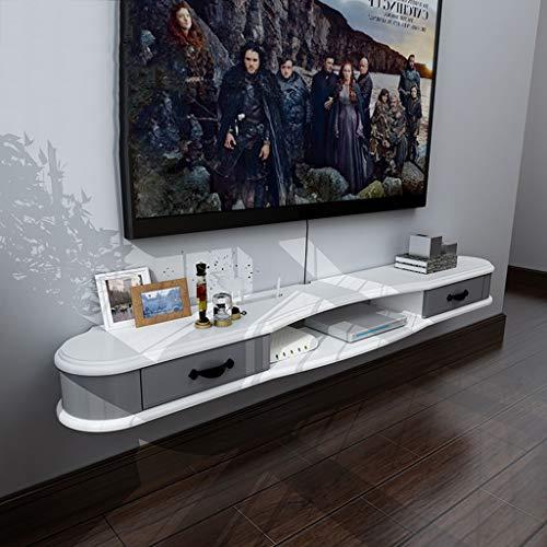 Étagère Murale Étagère Flottante Mural Meuble TV Étagère de Rangement avec tiroir Console de télévision DVD Routeur Wi-FI Blanc en Bois (Couleur : B, Taille : 1.3M)