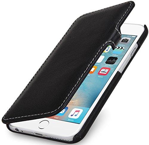 STILGUT Book Type Hülle mit Clip, Hülle Leder-Tasche kompatibel mit iPhone 6s Plus. Seitlich klappbares Flip-Hülle aus Echtleder, Schwarz Nappa