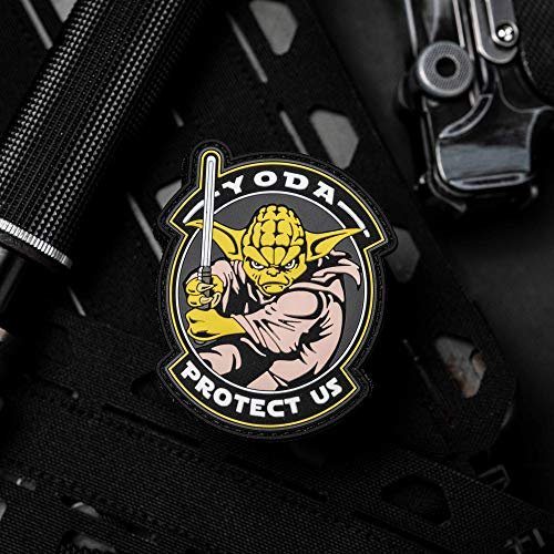 NEO Tactical Gear Yoda Protect Us Glow in The Dark Light Saber Star Wars PVC Rubber Morale Patch, Hook Backed Morale Patch