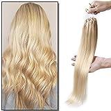 Elailite Extensiones Micro Ring Pelo Natural Cabello Humano Anillas sin Clip 100 mechas 50g - 100% Remy Human Hair Largas 50cm #613 Rubio Muy Claro