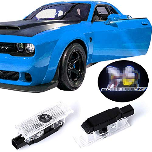 fit for Dodge Challenger Projector Ghost Shadow Courtesy Light Welcome Light for Dodge Challenger Car Door Logo (Black)