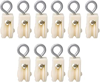 RDEXP Plastic Single Sheave Lifting Rope Pulley for Chicken Poultry Farms Set of 10