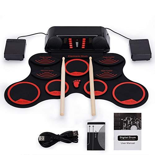 QYWSJ Elektronisches Schlagzeug, 10 Silicon Pads Portable Digital Roll-Up Drum Kit, Übungs-Schlagzeug Eingebauter Doppel-Stereolautsprecher für Kinder, Anfänger