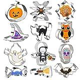 Formine Biscotti Halloween Set di 12, OMNIQI Stampi Biscotti Halloween Acciaio Inox per Biscotti Frutta Torta Festa Halloween - zucca, scheletro, caramelle, pipistrello, caramelle, gatto, ecc.