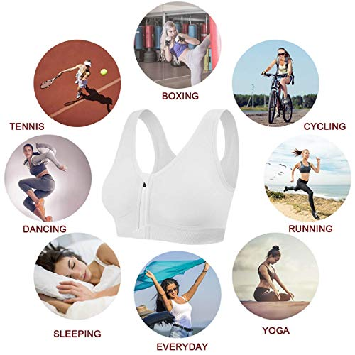 CMTOP Women's High Impact Wireless Cross Back Support Front Zip Sports Bra Woman Bra Comfort Sports Bra with Removable Pads Yoga Bra for Women White