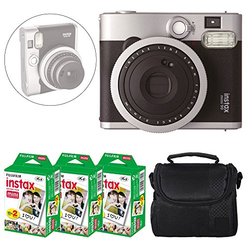 Fujifilm INSTAX Mini 90 Neo Classic Instant Camera (Black) + Fujifilm Instax Mini Instant Film (60 Exposures) + Camera Case  Deluxe Accessory Bundle