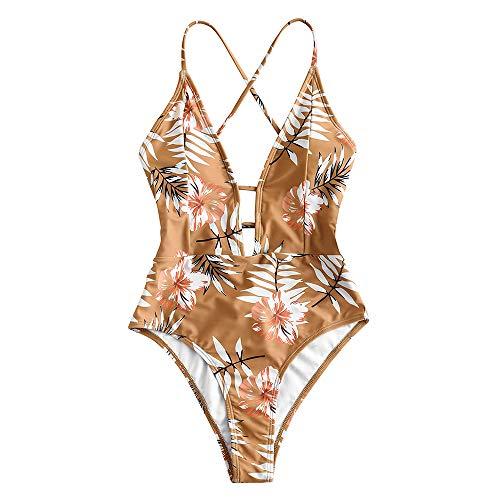 ZAFUL Bikini Donna Costumi da Bagno Imbottiti Bechwear in Costume da Bagno Foreale Vintage (S, Marrone Giallo)