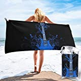 XBYC Serviette de Bain Large Travel Microfiber Bath Towels - Swimmers Super Absorbent Lightweight Towel - Blue Guitar Quick Dry Beach Towel for Camping, Hiking and Home Use
