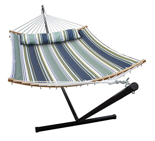 SUNLAX Double Hammock Stand with 12FT Portable Steel Stand and New Curved Bamboo Spreader Bars, Detachable Pillow, Quilted Fabric Swing, Blue and Aqua Stripes