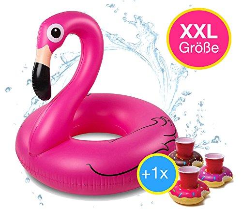 TK Gruppe Timo Klingler Flamingoring 120 cm Schwimmring Flamingo aufblasbar Pool & Wasser mit Getränkehalter für Erwachsene & Kinder