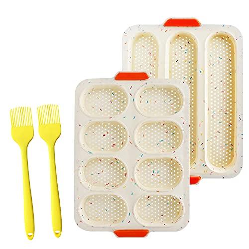 Komake 2 PCS Brötchen Backblech,3 Wellenschlitze Silikon Baguette Backblech und 8 Einheiten Brötchen Backform,Baguetteblech mit Löchern, Backform Brot mit 2 Silikonbürsten, für Baguette, Langbrot