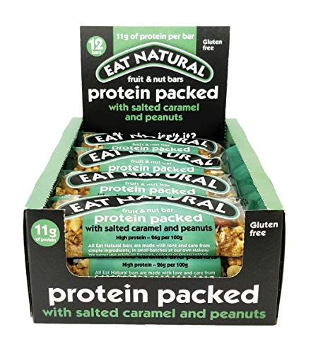 Protein Packed Salted Caramel 45g by Eat Natural .Price is for a Pack of 12