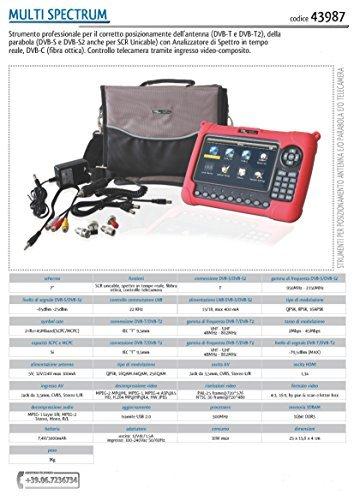 cod. 43987 - MULTISPECTRUM - Strumento di misura,misuratore di segnale professionale per satellitare e digitale terrestre e fibra ottica (DVB-S, S2, SCR UNICABLE, DVB-T, T2, DVB-C ) con schermo 7' , funzione puntamento /controllo telecamere