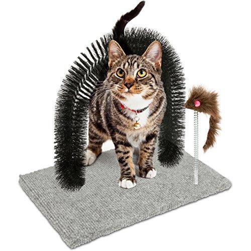 Oramics Katzenspielzeug und Enthaarungsbogen - Spielzeug und Kratzteppich für Katzen - Massagebogen mit Spielzeug Mäuschen