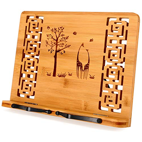 MEGREZ Bamboo Foldable Book Stand 132 x 94 inch Reading Frame Rest holder Cookbook Cook Stand/Tablet PC textbook/Music Document Stand/Desk Bookrest with Retro Hollow Tree and Giraffe