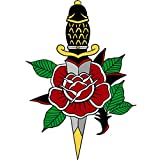 VWAQ- American Traditional Dagger Decal Stickers - Tattoo Vinyl Wall Art Decor - AT1 (30