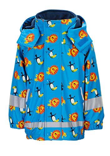 Sterntaler Kinder Regenjacke mit Innenjacke, 3-in-1-Multifunktionsjacke, Mit Löwen- und Tukan-Motiven, Alter: 3-4 Jahre, Größe: 98, Hellblau