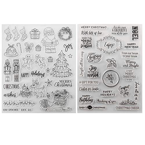 Kiddale Christmas Theme Clear Silicone Stamps Christmas Crafts Stamps for Card/Paper Craft Making Decor DIY Christmas Scrapbooking Photo Album