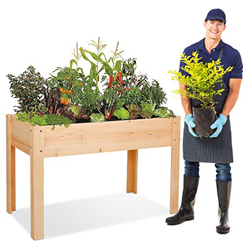 BAHOM Large Raised Garden Bed with Legs Elevated Standing Planter Grow Box Wood for Vegetables Fruits Herbs Flowers with Drainage Outdoor Patio Balcony Backyard