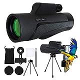 Bossdan 12×50 Monocular Telescope for Smartphone Holder-Portable Handheld Telescope&IPX5 Waterproof Monocular,BAK4 Prism for Wildlife Bird Watching,Sports Game,Travelling,Jungle Green&More.
