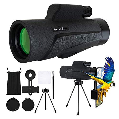 Bossdan 12×50 Monocular Telescope for Smartphone Holder-Portable Handheld Telescope&IPX5 Waterproof Monocular,BAK4 Prism