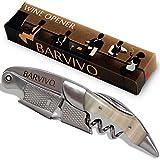 BARVIVO Cavatappi Professionale Apribottiglie Perfetto per stappare Bottiglie di Vino, Birra, per Sommelier e Bartenders di Tutto Il Mondo. Realizzato in Acciaio Inox e Resina Bianca.
