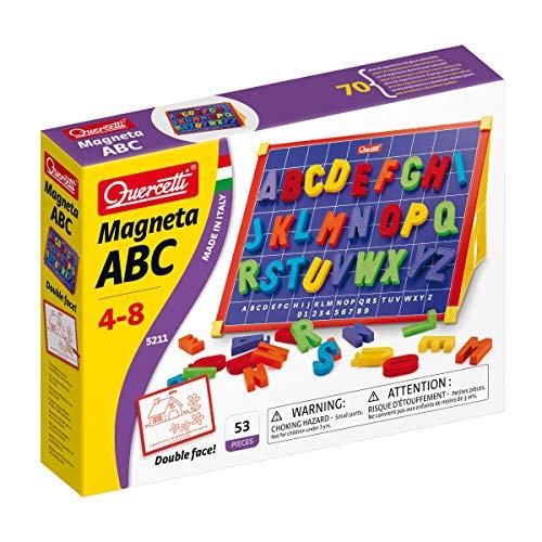 Quercetti- Magneta ABC Lavagna Magnetica con Lettere, Multicolore, 53 Pezzi, 5211