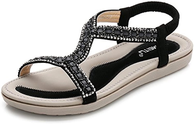 Women's Sandals Open Toe Lady Low Flat Heel Summer Bohemia Rhinestone Flower Bead Folk Sandals Boho Flip Flops Elastic Beach Leather Rhinestone shoes