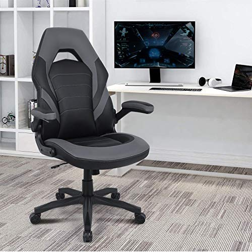 Rimiking Gaming Chair Racing Style Office Swivel Computer Desk Chair Ergonomic Conference Chair Work Chair with Lumbar Support PU Leatherwith Adjustable Task Chair Grey