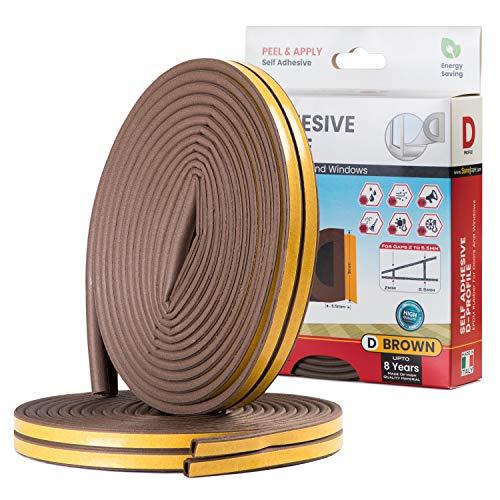 Sanojtape Dichtungsband, D-Profil Braun, 16 Meter Selbstklebende EPDM-Gummidichtung Ideal Dämmung Isolierung Fenstern Türen 16 Meter Energieeffizienz D-Profil