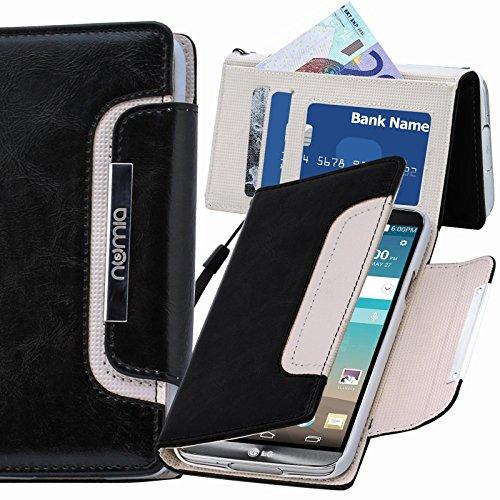 numia LG L90 Hülle, Handyhülle Handy Schutzhülle [Book-Style Handytasche mit Standfunktion & Kartenfach] Pu Leder Tasche für LG L90 Case Cover [Schwarz-Weiss]