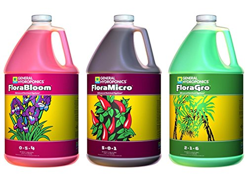 General Hydroponics Flora Grow, Bloom, Micro Combo Fertilizer, 1 gallon...