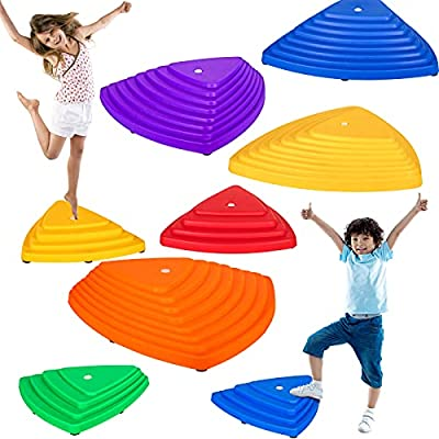 IROO 8PCS Balance Stepping Stones Set for Kids Play Indoor and Outdoor, Non-Slip Colorful Stones Toys for Coordination and Gross Motor Development, Unique Birthday by IROO