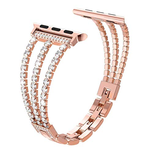 LiQinKeJi8 Watch Straps Link strap for Apple Watch 6 5 4 SE 3 2 strap 38mm 42mm for iWatch series 4/3 steel strap sports strap 40mm 44mm for Men (Band Color : Rose gold, Band Width : 42mm or 44mm)