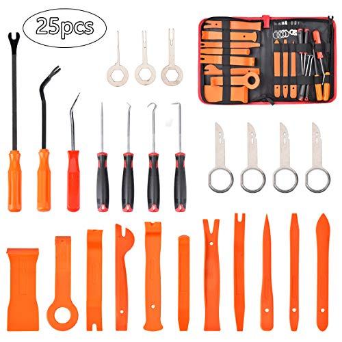 Wuudi 25 Stück Demontage Werkzeug Auto - Zierleistenkeile Verkleidungs Werkzeug, Innen-Verkleidung Ausbau, Lösewerkzeug Montagekeil Removal Reparatur