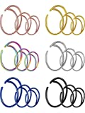 Gejoy 18 Pieces 20 G Moon Nose Ring Surgical Steel Septum Ring