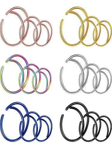 Gejoy 18 Pieces 20 G Moon Nose Ring Surgical Steel Septum Ring for Cartilage Helix Ear Piercing, 3 Sizes, 6 Colors