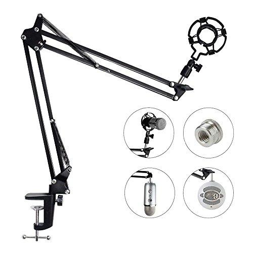 HAUEA Soporte para Micrófono con Araña para micrófonos más de 45 mm Soporte de Micrófono con Adaptador para Blue Yeti Snowball Soporte de Mesa con Brazo Ajustable Color Negro