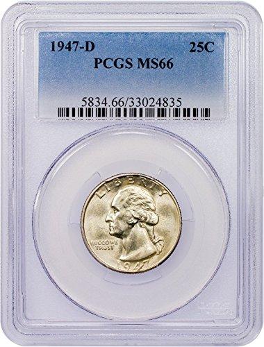 1947 D Washington Quarter Quarter MS-66 PCGS