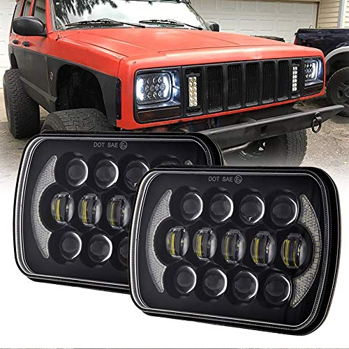 SANWAN, 2 fari a LED per auto, 5 x 7 cm, 105 W, con proiettore DRL Cree LED fendinebbia per camion off-road Cherokee XJ H6014 H6054 H6054LL 69822 6052 6053