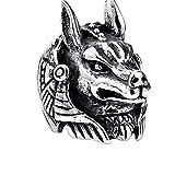 Vintage El Dios De La Muerte Anubis Anillo Hombres De Acero Inoxidable Lobo Cabeza Anillos De Motorista Hombre Gótico Egipto Mitología Joyería,7