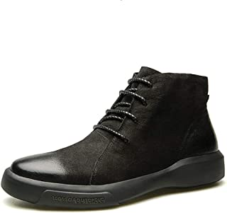 JIANFEI LIANG Men's Ankle Boots Casual High Top Shoes Lace up Round Toe Genuine Leather Short Tube Anti-slip Burnished Style Flat Non-slip Work or Casual Wear (Plush Lined Option)