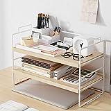 DFBDFB Estantería de escritorio simple para oficina o escritorio, organizador de escritorio, estantes de arte de hierro, estantes creativos de 37 x 24 x 17 cm (color blanco)