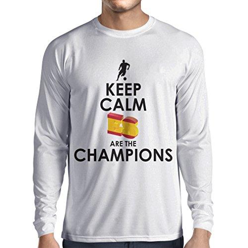 Camiseta de Manga Larga para Hombre Españoles Son los campeones, Campeonato de Rusia 2018, Copa del Mundo - Equipo del fútbol de Camisa del admirador de España (XS Blanco Multicolor)
