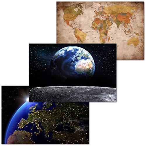 GREAT ART Set di 3 Poster XXL Motivi per Bambini - World View Europe - Mappamondo Retrò Terra Vista dalla Luna Europa Satellite Decorazione Interiore da Parete Murale 140x100cm