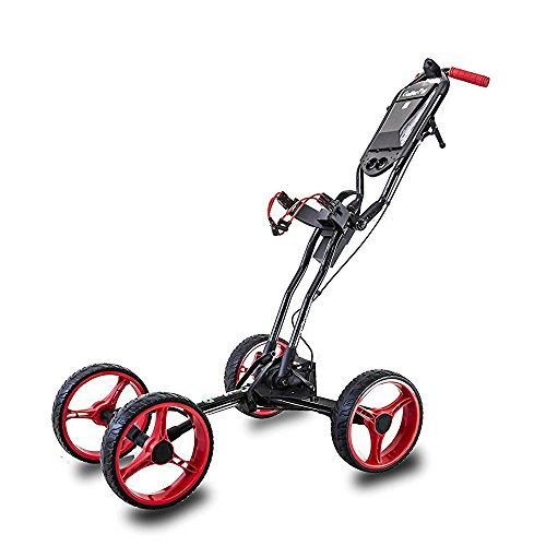 EasyPal Total Automatic Folding Golf Push Cart by Golferpal (Please Check YouTube Video for More Detail of This Amazing Design) (Black/Red)