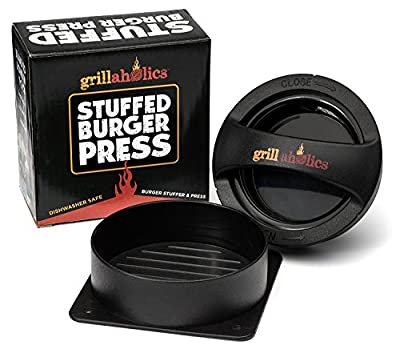 Grillaholics Stuffed Burger Press and Recipe eBook - Extended Warranty - Hamburger Patty Maker for Grilling - BBQ Grill Accessories from DSquared International LLC