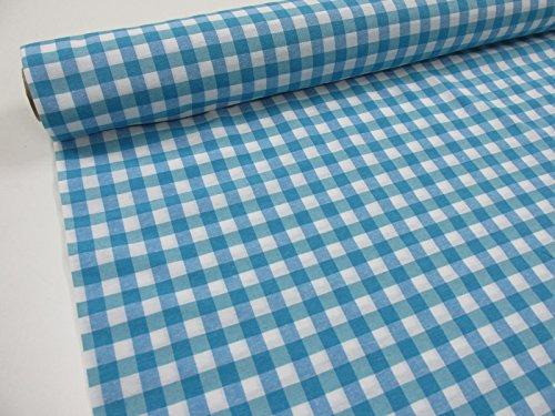 Confección Saymi Metraje 2,45 MTS Tejido Vichy Ref. Cuba Cuadro Medio 15x15 mm. Color Azul Turquesa, con Ancho 2,80 MTS.